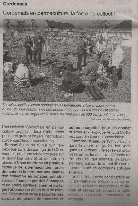 Article paru dans Ouest France pour annoncer l'événement